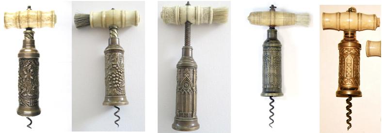 THOMASON TYPE CORKSCREWS WITH DECORATIVE GOTHIC WINDOWS OR HARVEST BARRELS